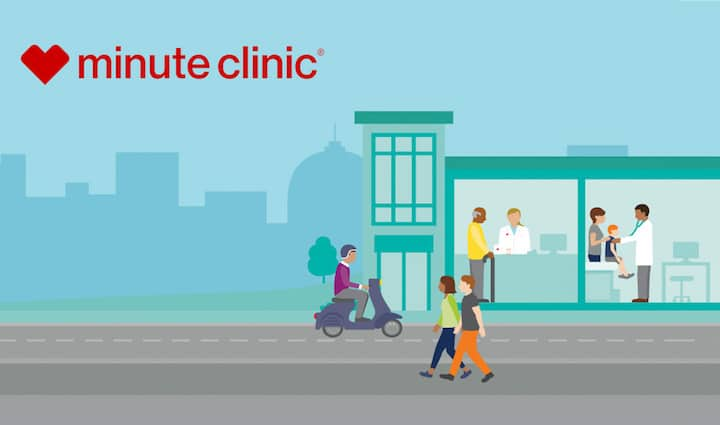 a cute little graphic showing how CVS's minute clinic can help lots of different people